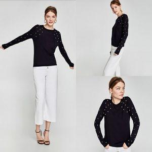 Zara Navy Blue Knit Pearls Sweater
